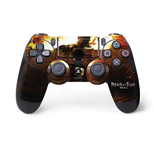Skinit Decal Gaming Skin for PS4 Controller - Officially Licensed Funimation Attack On Titan Fire Design