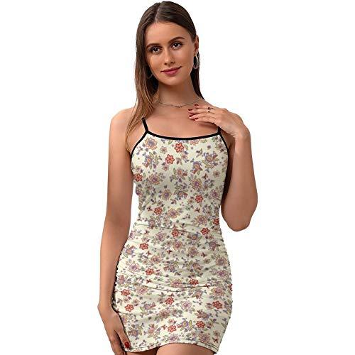 Vestido de mujer Sexy Slip Patrón de planta sin mangas Vestidos sin respaldo Sling Dress - X192