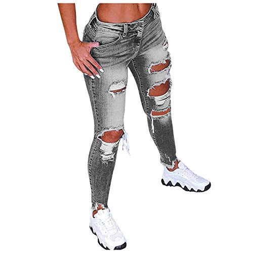 YANFANG Pantalones Vaqueros de Cintura Baja con Agujeros de Color sólido para Mujer, Pantalones Acampanados en el Tobillo, Pantalones de Moda,Gray,4XL