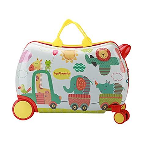 HMYLI Valigia Cavalcabile per Bambini,Trolley da Viaggio,Ragazzo Ragazza Bagaglio Regalo,Bianca