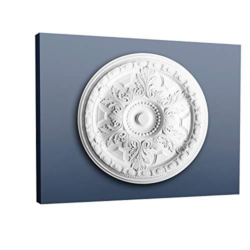 Rosetón Florón Elemento decorativo de estuco Orac Decor R23 LUXXUS para techo o pared Motivo floral 71,5 cm diámetro
