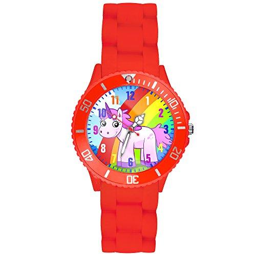 Taffstyle Kinder-Armbanduhr Analog Quarz mit Silikon-Armband Zahlen Einhorn Kinderuhr Lernuhr Sport-Uhr Rainbow Rot