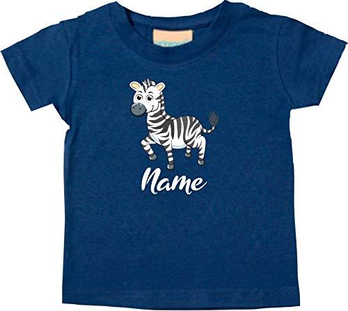 Shirtstown Bébé Kids-T, Zèbre avec Nom Souhaité Animal Animal Nature - Turquoise, 18-24 Monate