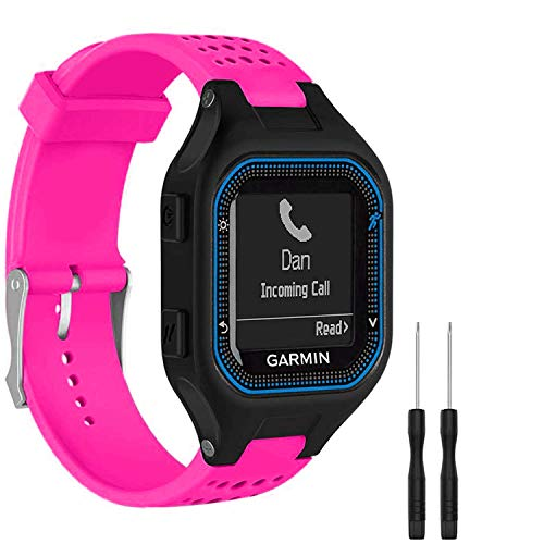 GVFM Bands Compatible with Garmin Forerunner 25, Soft Silicone Replacement Watch Band Strap for Garmin Forerunner 25 GPS Running Watch (LRose, Large)