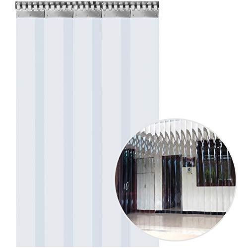 VEVOR Tenda per Porta Esterna 1.25x2m, Tenda a Striscia in PVC 5 Fette Trasparente, Tendaggio di Porta con Staffa e Unghie Resistenza a Vento Acqua Graffi Temperatura per Supermercati, Negozi e Sale