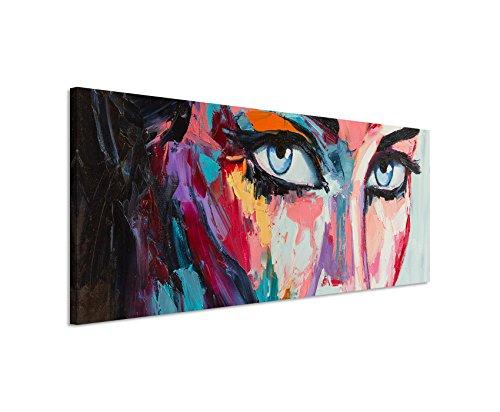 Paul Sinus Art Panoramabild 150x50cm Buntes modernes Ölgemälde – Frau mit blauen Augen auf Leinwand Exklusives Wandbild Moderne Fotografie für ihre Wand in vielen Größen