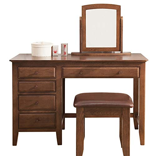 Best Review Of BoeWan Practical Modern Dresser Personality Vanity Table Set with Square Mirror 5 Lar...