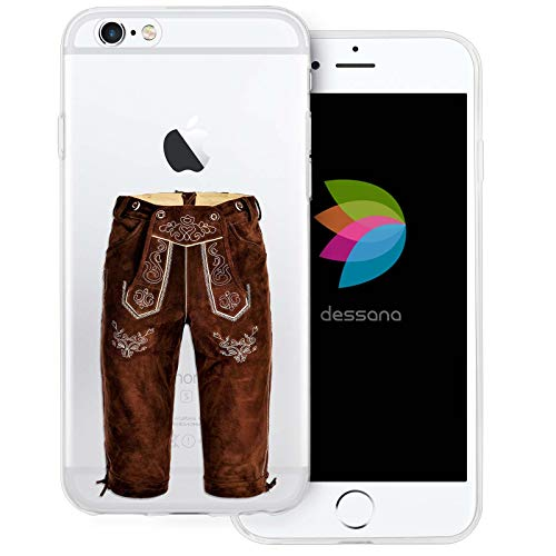 dessana Oktoberfest München transparente Silikon TPU Schutzhülle 0,7mm dünne Handy Tasche Soft Case für Apple iPhone 6/6S Lederhose lang