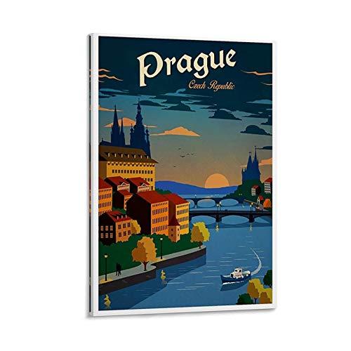 LCYB Prague Vintage Travel Poster Leinwand Kunst Poster und Wandkunst Bilddruck Moderne Familienzimmer Dekor Poster 24x36inch(60x90cm)