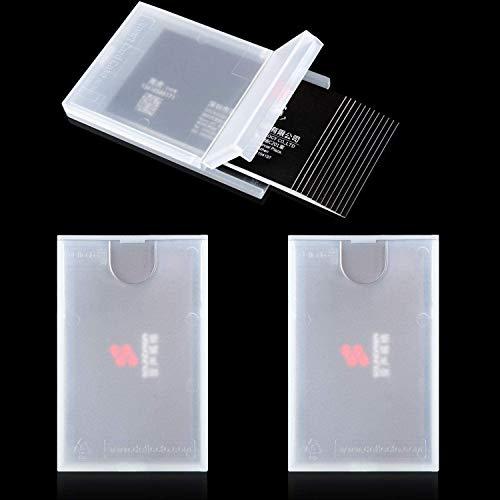 Portatarjetas de Visita de Plástico Funda de Tarjeta de Visita de Bolsillo Transparente Cartera de Tarjeta de Presentación Porta Tarjetas de Visita Delgada para Hombres y Mujeres (3)