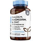 Calcium Magnesium Zinc & Vitamin D3-365 Vegetarian Tablets - High Strength Calcium Supplement - 6 Month Supply...