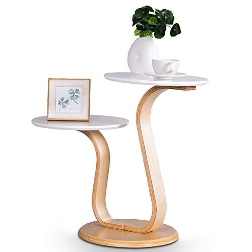 COSTWAY Beistelltisch Design, Sofatisch mit 2 Tischplatten, Nachttisch fürs Bett, Kaffeetisch für Wohnzimmer Balkon Flur