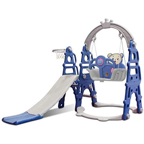 Muyuuu Tobogán de plástico para niños, Juego de Columpios y montañismo para niños pequeños 3 en 1, combinación de aro de Baloncesto con tobogán de Escalador con música, área de Juegos para niños para