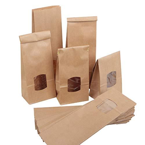 Logbuch-Verlag 50 Papierbeutel foliert MIT FENSTER 10,5 x 6,5 x 29 cm Keksbeutel Lebensmittel verpacken Pralinen Kekse Weihnachten Gebäckbeutel Plätzchen Kraftpapier natur