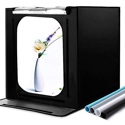 Tragbares Fotostudio 16''x16''x16'' Lichtzelt Schießzelt-Kit mit 4 Hintergrundpapieren und Helligkeitsregler für Fotografie, Produktwerbung (40 * 40 * 40cm)