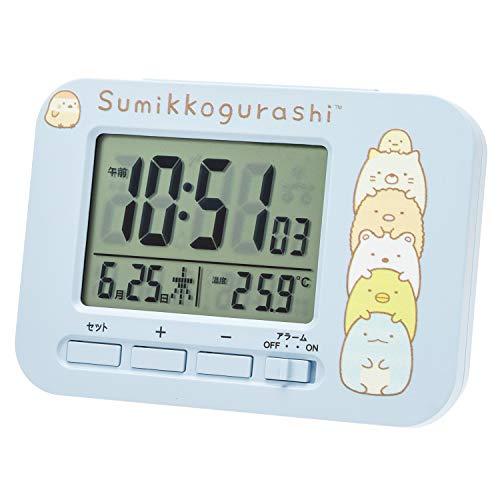 すみっコぐらし 目覚まし時計 電波 デジタル カレンダー 温度 表示 ブルー AC19049SXSG