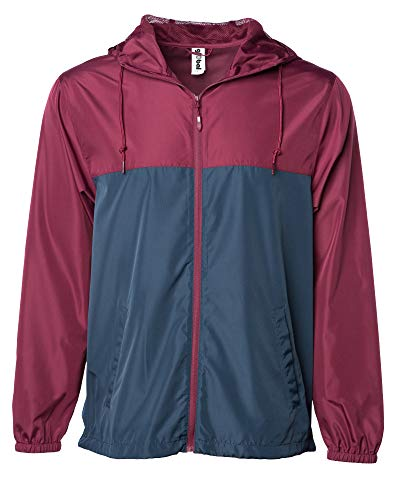 Global Men's Hooded Lightweight Windbreaker Rain Jacket Water Resistant Shell (Navy/Maroon, Medium)