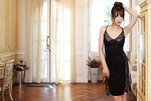 BAKND Reizwäsche Korsagen & Bustiers für Damen Sexy Dessous Plus Größe Spitze hoch geschlitztes Kleid sexy-Black_one Größe