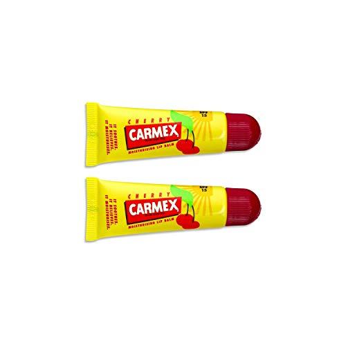 Carmex Lip Balm Original, Cherry o Strawberry 2 Pack - Bálsamo labial original Pot Pack de 2… (Carmex Tube Cherry)