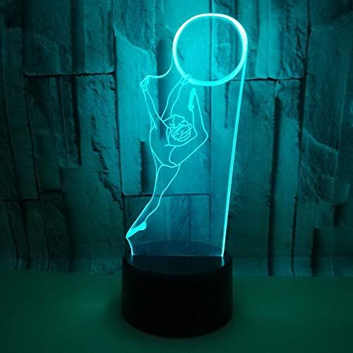 Gymnastik-Figur 3D Nachtlicht Led Nachtlampe,HHANN 16 Farben Berührungssteuerung Zuhause Dekor Tischleuchte Usb Tischlampe Für Kinder Weihnachten Geburtstag Beste Geschenk Spielzeug