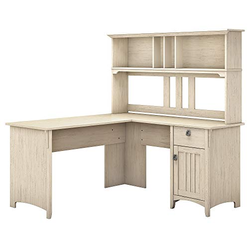 Bush Furniture Salinas 60W L Shaped Desk with Hutch in Antique White