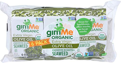 Gimme, Organic Seaweed Snack Roasted Olive Oil 6 Count, 1.05 Ounce
