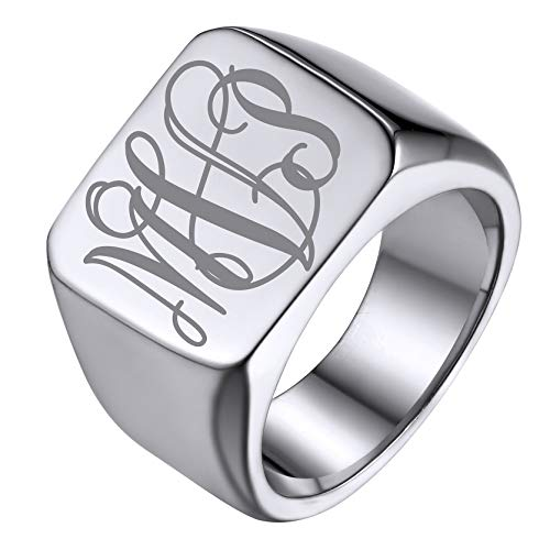 GoldChic Jewelry Stainless Steel Plain Signet Rings For Men,Letters Engraved Biker Band Rings For Hip Hop Singer Size R