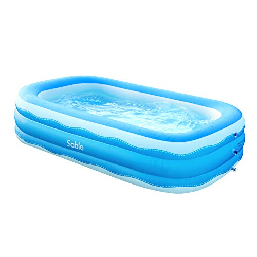 Sable Inflatable Pool, 95 x 56 x 22in Rectangular Swimming Pool for Toddlers, Kids, Family, Above Ground, Backyard, Outdoor