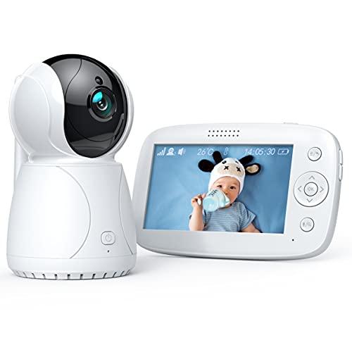 Vigilabebés con Cámara y Audio, 4.3' LCD Bebé Monitor Inteligente, Batería Recargable de 3200mAh, Audio Bidireccional, VOX, Panorámica Inclinación Zoom Visión Nocturna y Sensor de Temperatura
