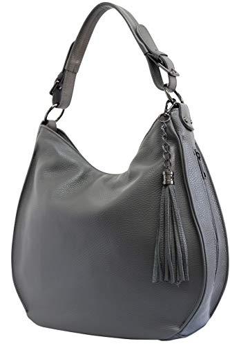 AmbraModa Italiensche Damenhandtasche Schultertasche Hobo Bag aus Echtleder GL026 (Dunkelgrau)