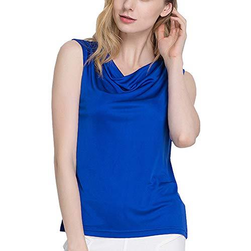 DISSA Camiseta de tirantes de seda para mujer, cuello redondo, informal, de seda, AS1153 azul 38