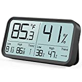 BFOUR Indoor Hygrometer Thermometer Humidity Gauge Digital Room Thermometer Temperature and Humidity Monitor High-Precision Digital Sensor(HD No Ghosting Large Screen) (Black)
