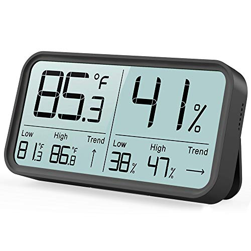 BFOUR Indoor Hygrometer Thermometer 2020 Upgraded Humidity Gauge Digital Room Thermometer Temperature and Humidity Monitor High-Precision Digital Sensor(HD No Ghosting Large Screen) (Black)