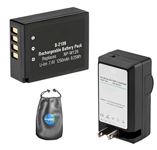 Digitaler Ersatzakku Plus Reiseladegerät für Fujifilm NP-W126, FinePix - Inklusive Objektivzubehörtasche