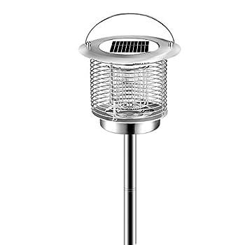 QSBY Lampe Tueur de moustiques en Plein air piège à moustiques imperméable à l'eau Multifonction Solaire Intelligente Light Control Répulsif Lampe-2 pièces,Argent,Outdoor