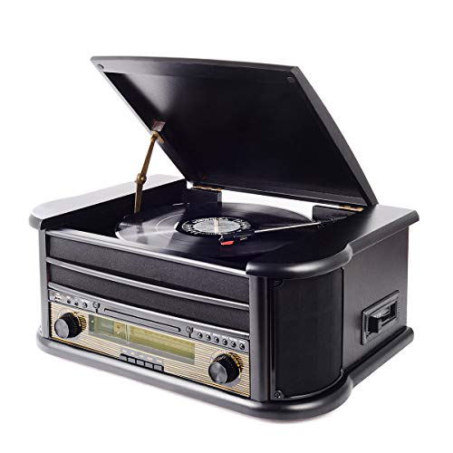 Musitrend Vinyl Record Player 8 in 1 3 Speed Vintage Bluetooth Turntable CD Cassette Player AM/FM Radio USB Recorder Aux-in RCA Line-Out