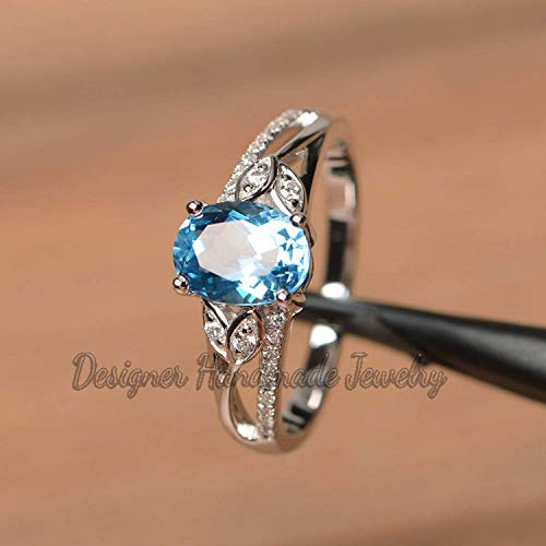 Engagement Ring 925 Sterling Silver Women Ring Women Ring Gift For Her Promise Ring Natural Oval Cut Blue Topaz Ring Anniversary Ring