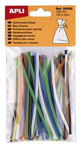 APLI 555 - Pack de 100 cierres metálicos para bolsas