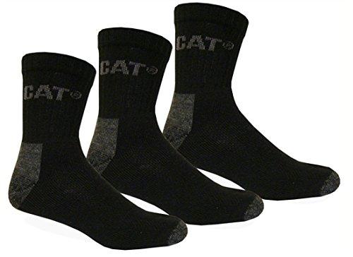 Caterpillar CAT 3|6|9|12|24 Paar kurze Arbeitssocken, Schwarz, 41-45 oder 46-50 (Übergröße), Quarter WORK Socks, Socken, Strümpfe, Sneakersocken (41-45, 3 Paar)