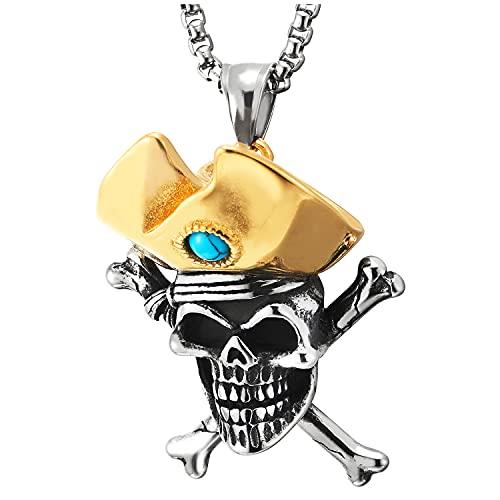 COOLSTEELANDBEYOND Collar de acero con colgante de cruz de hueso de calavera de capitán con resina turquesa, oro plateado