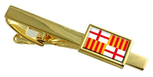 Select Gifts Barcelona Ciudad Bandera España Clip de Corbata de Oro Personalizado Grabado