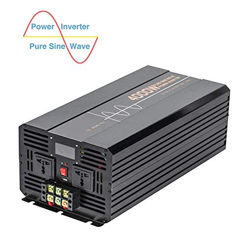 Heavy Duty Pure Sine Wave Inverter, 4000W Power, DC to AC Converter, with Dual AC Outlets Hard-Wired Terminal USB Port and LCD Display, for Home Solar Power System,Dc 12v to ac 110v