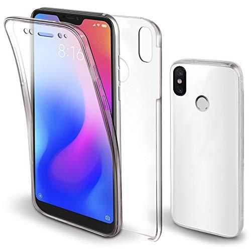 Moozy 360 Grad Hülle für Xiaomi Mi A2 Lite, Redmi 6 Pro - Vorne & Hinten Transparent Handyhülle Hülle - Hart PC Zurück, Weiche Silikon Vorderseite