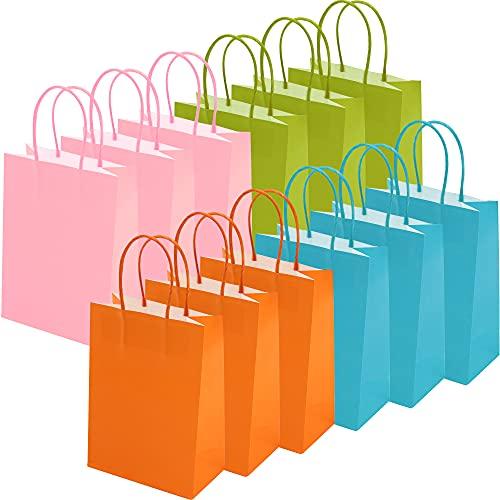 Papiertüten mit Henkel, 12 Stück Bunt Papier Partytüten Geschenktüten aus Kraftpapier für kinder Geburtstag, Papier Mitgebsel Tüten für Partys, Hochzeiten, Feiern und Süßigkeiten, 4 Farben 15x8x21cm