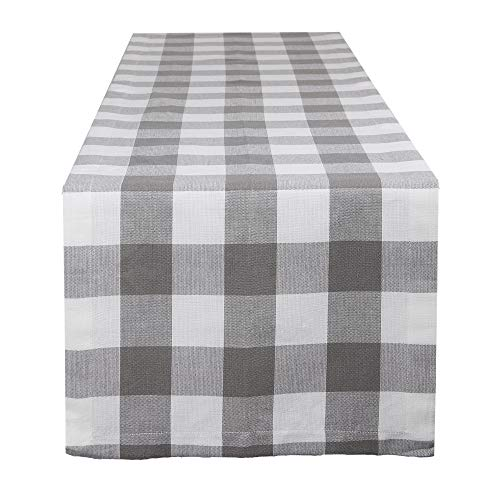 DII Buffalo Check Tabletop Collection for Family Dinners, Special Occasions and Everyday Use, Indoor/Outdoor, Table Runner, 14x108, Gray & White