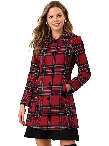 cappotto donna scozzese Allegra K Cappotto lungo da donna con collo in pelliccia sintetica scozzese invernale Rosso L