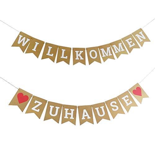 Ealicere 19 Stück 3 M Willkommen Zuhause Welcome Back Bunting Wimpeln Banner,Willkommen Banner für Schule Party Familie Party Dekoration