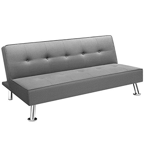 Homall Futon Sofa Bed Modern Collection Convertible Fabric Folding Recliner Lounge Couch for Living Room with Chrome Legs, Gray
