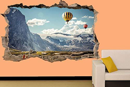 Pegatinas de pared-3D-GLOBO DE AIRE EN MONTAÑAS NEVADAS ETIQUETA DE PARED DECORACIÓN DE HABITACIÓN MURAL-50x70cm