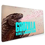 Godzilla Pink Flowers Extended Gaming Mouse Mat, DIY Custom Professional Mouse Pad (35.5x15.8In),Desk Pad Keyboard Pad Mat, Water-Resistant, Non-Slip Base, For Work & Gaming, Office & Home